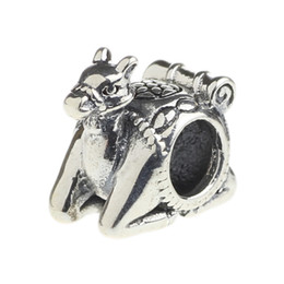 Wholesale Camel Silver Charms - Beads Hunter Jewelry Authentic 925 Sterling Silver Egyptian Camel Ride Charm fashion big hole bead For 3mm European Bracelet snake chain