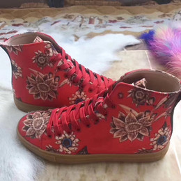Wholesale Designer Dresses Feathers - 2017 Hot Designer New Red High Top Men Women Sneakers Luxury Panther Embroidery G Casual Shoes Size 35-46