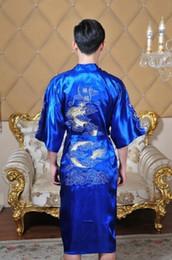 Al por mayor-Libre de los hombres chinos de satén de poliéster bordado Robe Kimono camisón Dragon Sleepwear M L XL XXL 4 color desde fabricantes