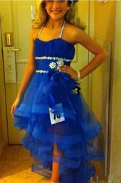 Wholesale Cute Cheap Pageant Dresses - 2015 Cute Hi lo Little Flower Girls Pageant Dresses For Kids Glitz Ritzee Beaded Organza Royal Blue Halter Cheap Prom Party Gowns Custom
