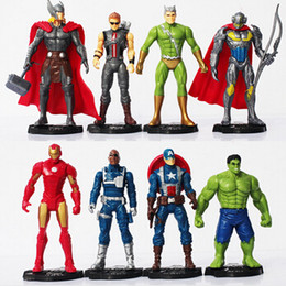 Wholesale Avengers Props - 8pcs set The Avengers 2 Age of Ultron Iron Man Ultron Nick Fury Hulk Captain America Action Figure Toys