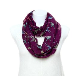 Wholesale Wholesale Bird Print Scarves - Wholesale-2015 Trend Infinity scarf 1pc Bird Printed Ring scarfs big Lady tube scarf WJ-218