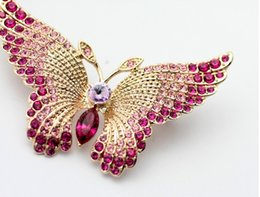 Wholesale Italina Brooch - Fashion Jewelry Brooches Italina Riagnt 18K Gold Plated and 100% Austrian Crystal Pink Butterfly Brooches Jewelry For Women
