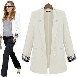 Wholesale Boyfriend Blazer Women - Blazer Women 2017 long Sleeve Boyfriend Feminino Slim Blazer Jackets Suits black white ol plus size xxxl