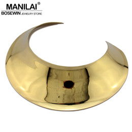 Wholesale Wide Gold Choker - Wholesale- MANILAI Big Collar Choker Necklace Women New Fashion Wide Alloy Torques Geometric Statement Necklaces Maxi Jewelry CE4346