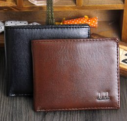 Wholesale European Style Vintage - 2016 Export New Fashion Men Bifold 2 Fold Black Coffee Color Optional Quality Pu Leather Designer Card Holder Purse Wallet Free Shipping
