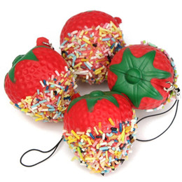 Deutschland Großhandel-Pretend Play Squeeze Kawaii Schokolade Küche Spielzeug Erdbeere Telefon Kette Squishy Key Brot Handy Straps Decor P15 Versorgung
