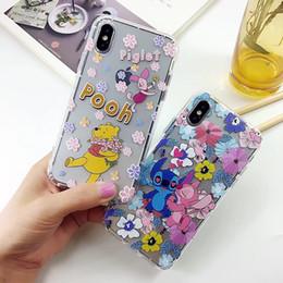 Wholesale Stitch Back Case - Winnie Stitch Cartoon Air Cushion TPU Phone Shell Case Silicone Clear Back Cover For iphone 6 6S plus 7 8 plus Goophone X