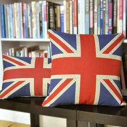 bandera al por mayor fundas de almohada Rebajas Cubierta de almohada de Union Jack, funda de almohada retro del cojín de lino del algodón británico de la bandera al por mayor