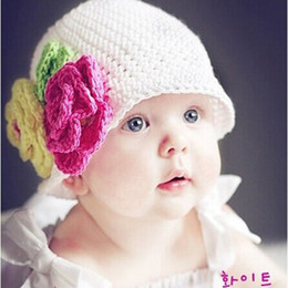 Wholesale Girls Crochet Knit Flower - 100% cotton wool knitting Kids hat big flower handmade 10pcs lot Children baby Accessories ba140
