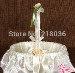 2017 arcs décorations mariage Mariage Oval Perle Ivory Bow Ceremony Love Case Satin Milk White Flower Girl Baskets Wedding Decoration Party Supplies N1447 arcs décorations mariage offres