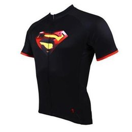 Wholesale Superman Lycra Tops - new style supermen Cycling Jersey set with Short sleeve top and short with anti UV, breathable and quick dry tight fabric