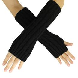 Wholesale Knit Opera - Wholesale-Newly Design Women Fashion Opera Gloves Knitted Winter Warm Long Mittens Aug20