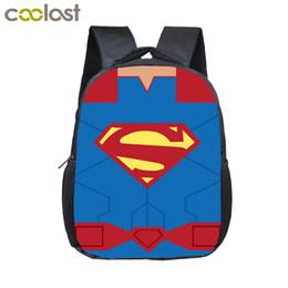 Wholesale Superhero Bags - 12 Inch Comics Superhero Logo Backpack For Children Cartoon School Bags Superman Spiderman Kids Kindergarten Nylon Backpack Boys Bag