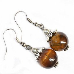 Wholesale Tibetan Jade Earrings - 4 color optional Tibetan silver earrings amber color, tiger eyes stone color