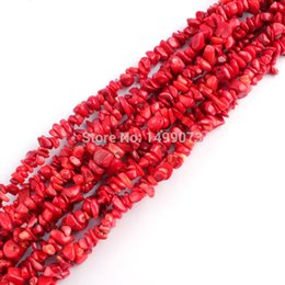 """Wholesale Chipped Coral Jewelry - Wholesale-Free Shipping DIY Necklace Bracelat Jewelry Making 6-8mm Freerorm Shape Red Coral Gravel Chip Loose Beads Strand 34"""""""