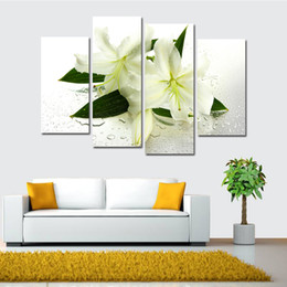 Wholesale Lily Flower Wall Canvas - Greenish Lily Flower Hand-painted Painting Canvas Art Decorative Scenery Room Home Decor Wall Unframed Arts