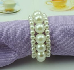 Wholesale Napkin Rings Pearls - New Shiny White Round Imitation Pearls Napkin Rings for wedding dinner, showers, holidays, Table Decoration Accessories wen4594