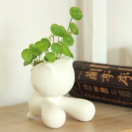 il giardinaggio coltiva il sacchetto all'ingrosso Sconti Carino design gatto vasi di fiori decorazione della casa desktop vasi di ceramica portapenne carino disegno uomo vaso di fiori