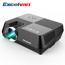 2019 mini projetor laptop portátil Atacado-Excelvan GT-S8 800 * 480 Projetor Multimídia Portátil LCD Com HDMI Interfaces USB AV VGA TF Suporte 720 P Para Home Theater Cinema