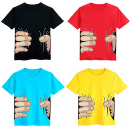Wholesale Spoof Grab Shirts - 5colors Fashion 3D Big Hand Boys T-Shirts Spoof Grab You 25pcs lot Cotton Children Short Sleeve Tops Visual Creative girls Tees