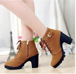 Wholesale Knight Boots Mid Heel - 2016 New Autumn Winter Women Boots High Quality Solid Lace-up European Ladies PU Leather Fashion Boots Free Shipping