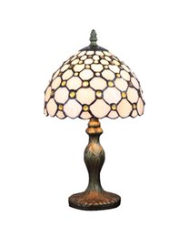 Wholesale Modern Glass Desks - Wholesale-Table Lamps Small Tiffany Glass Jeweled Modern Desk Light Fixture Mediterranean No.8S18005-8BT311R E14 110V-240V EMS Free Ship