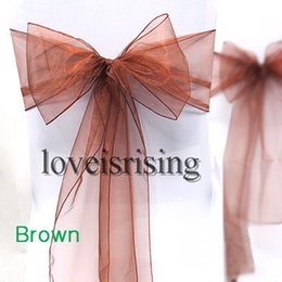 """Wholesale Chairs Black Silver Color - Hot item-lowest Price-50pcs Brown Color 8"""" (20cm) W x 108"""" (275cm) L Organza Chair Sashes Wedding Party Banquet Decor+Free Shipping"""