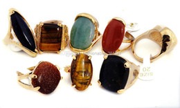 Wholesale Vintage Fashion Rings - Rings Ring Gemstone Gold Plated Wholesale Jewerly Vintage Gold Tone Natural Stone Fashion Finger Rings