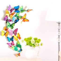 Wholesale Decorative Wall Decals Butterfly - Free shipping 12 pcs set lifelike three dimensional pvc butterfly decorative stickers for wall, metal & cloth decoration