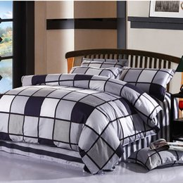 Wholesale Boys Twin Size Comforter - 100%Cotton 4Pcs King Queen Full Twin Size Black White Plaid Bedding sets kids boys girls bed sheet set fit sheet Duvet cover