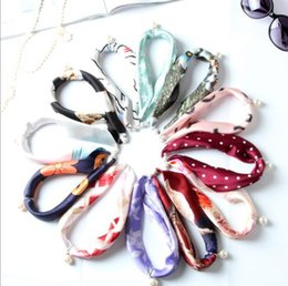 Wholesale Pendant Scarfs - Hot sell new silk pearl pendant small square cloth crepe satin silk scarf necklace gift