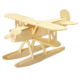 Wholesale Toy Wooden Construction Kits - Wholesale-2015 hot free shipping New 3D Woodcraft DIY Heinkel HE51 Plane Model Wooden Construction Kit Toy Gift,IN STOCK