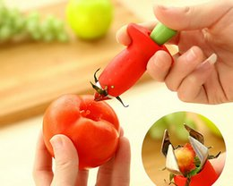 Wholesale Gadgets Strawberry Slicer - Metal +Plastic Fruit Remove Stalks Device Tomato Stalks Strawberry Knife Stem Remover Fruit Slicer Creative Kitchen Gadgets 200pcs