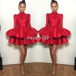 Wholesale Kids Vintage T Shirts - 2015 Fashion Short Party Dresses Red With Long Sleeve Tiered Ruffled Michael Costello Mini Prom Dress Girls Kids Homecoming Cocktail Dress