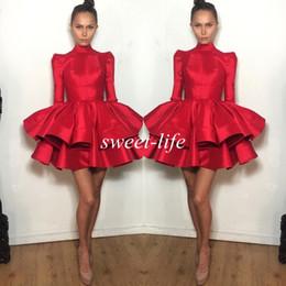 michael costello short dresses Sconti 2019 Fashion Abiti corti da party rossi con maniche lunghe a righe arruffate Michael Costello Mini abito da ballo per bambina