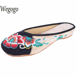 Wholesale Womens Vintage Heels - Wegogo Womens Summer Sandals Vintage Old Beijing Embroidery Home Women Slippers Casual Female Soft Shoes Mujer Plus Size 40