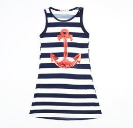 Wholesale Anchor L - Fashion Kids Dress Kids Girls Sequins Anchor Stripes Party Dress Cotton Dress Blue Color 5 p l