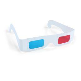 Горячие продажи 3D бумажные очки красный и голубой белый рамка анаглиф картон дешевые цена бесплатная доставка от