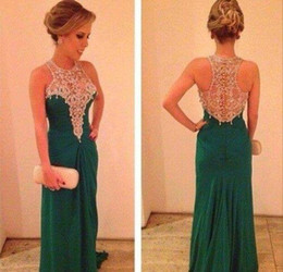 Wholesale Sexy Gorgeous Evening Dress Cheap - 2015 New Arrival Gorgeous Emerald Green Prom Dresses High Neck Sleeveless Floor Length Chiffon Beaded Rhionestone Evening Dresses cheap new