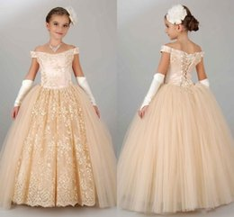 Wholesale Lighted Christmas Ribbon - 2017 Ball Gown Flower Girls Dresses Off The Shoulder Short Sleeves Lace Tulle Champagne Wedding Gowns Special Occasion Kids Pageant Dresses