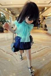 Wholesale Tee Tank Children - Girl Cute Sweet T-shirt Korean Style Summer Plaid Chiffon Sleeveless Vest Tank Tees Girl's Tops Childs Children Big Butterfly Bow Tee J4297