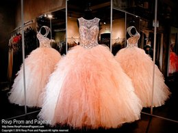 Wholesale Sequin Drape Dress - 2016 Peach Ball Gown Quinceanera Dresses Backless Crystals Sheer Neck Crew Ruffles Sequins Custom Made Girls Sweet 16 Party Dress Prom Gowns