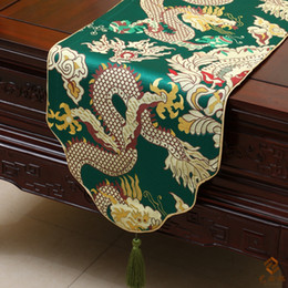 Wholesale Banquet Tea - Lengthen Jacquard Dragon Table Runner China style Cover Cloth High End Luxury Silk Brocade Tea Table cloth Festive Banquet Party Decoration