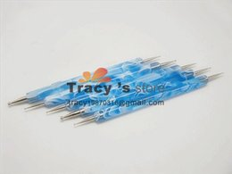 Wholesale Doting Tools - Dotting Pen Set Blue Good quanlity 2 Way Nail Art Tool marble doting tool 5pcs set