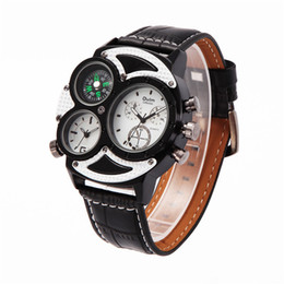 Wholesale Compass Watches Military - 2016 new OULM's European brand mens watches military belt radium quartz watch compass watch sports personality watch