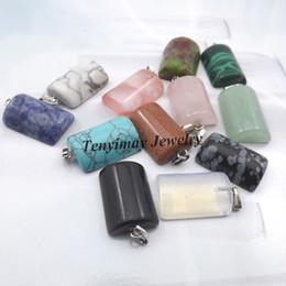 Wholesale Mix Semi Precious Stones - Mixed Semi-precious Stone Pendant For Necklace Real Natural Stone Arc Shape Pendant 24pcs lot