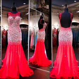 Wholesale Evening Desses Crystal - Red Mermaid Evening Desses 2016 Beaded Sheer Neck Rinstone Bodice Open Back Gorgeous Crystal Evening Gowns Real Photo Pageant Dresses
