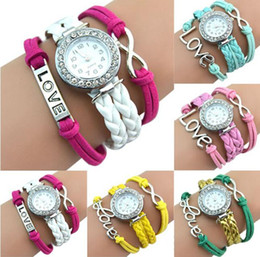 Wholesale Irregular Bangle - Antique Silver Infinity Love Charm Bracelet Bangle Watch Leather Crystal Watch