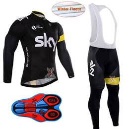 Wholesale Sky Winter Bib - 2017 Sky Cycling Jersey Sets Long Sleeve Winter Thermal Fleece Bib Pants Set Cyclling Jerseys Warmer Men Bicycle maillot ciclismo H120